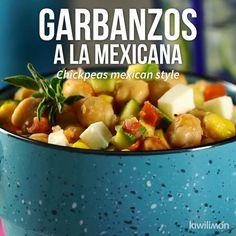 Garbanzos a la Mexicana Garbanzo Bean Recipes, Veggie Recipes, Mexican Food Recipes, Vegetarian Recipes, Healthy Recipes, Crowd Recipes, Healthy Cooking, Cooking Recipes, Cooking Bacon