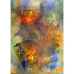 Autumn Ablaze - By John Robert Beck  This abstract art was created in 2010. The watercolor background was first made, then digital fractals were added on top of the background. $3.00