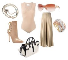 """""""In the Nude Baby!"""" by shesreadyinc on Polyvore featuring Givenchy, Maison Margiela, GUESS, Chanel, COSTUME NATIONAL, Versace, women's clothing, women, female and woman"""