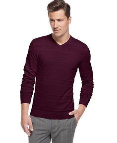 Alfani Big and Tall Textured V-Neck Sweater