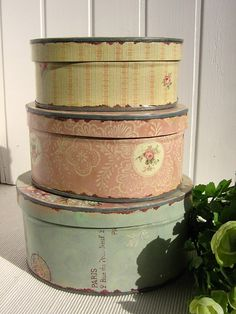 Vintage Rose Brocante & Vintage Vanille Old hat boxes in a stack Repinned by www.silver-and-grey.com  #wallartroad #tins