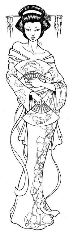 Geisha Coloring Pages Free - Coloring For Kids 2019 Illustration, Japanese Embroidery, Coloring Book Pages, Digi Stamps, Printable Coloring, Colorful Pictures, Japanese Art, Zentangle, Embroidery Patterns
