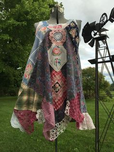 Upcycled Wearable Art Shabby chic Patchwork bohemian colorful top by SimplyCathrineAnn