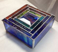 Contemporary Stained Glass Jewelry Box Colorful by PeaceLuvGlass, $48.00