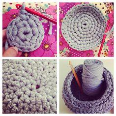 Circulo magico hasta convertirse en un Cesto de Trapillo #crochet #trapillo #puntoalto #puntobajo #cadeneta #knit #cestodetrapillo #cursodecrochet