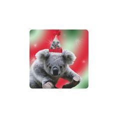 Christmas Koala Square Coasters