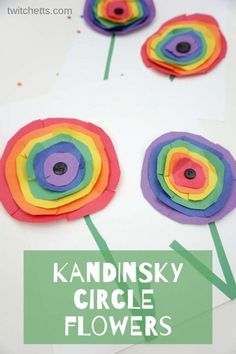 How To Inspire Kandinsky, Rainbow Circle Floral Art With Kids - Projectgardendiy.club - How to Inspire Kandinsky, Rainbow Circle Floral Art with Kids - Art Projects For Adults, Toddler Art Projects, Diy Projects, Easy Kids Art Projects, Summer Art Projects, Rainbow Crafts, Rainbow Art, Rainbow Group, Kids Rainbow
