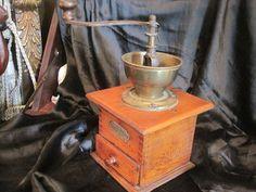 Antique Coffee Grinder, Open Hopper Design, and Dovetail Construction, Garantirt
