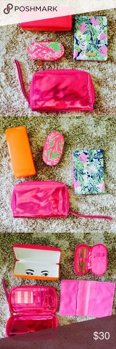 Multi Item Lot Lilly Pulitzer Kate Spade VS Preppy Multi Item Lot; 1. Lilly Pulitzer passport cover; 2. Kate Spade sunglasses holder, slight cover wear; 3. VS zip pink small wallet clutch, some cover wear; 4. Lilly Pulitzer Manicure kit, missing a few tools and does not zip any longer. You get everything in this Lot! Lilly Pulitzer Accessories