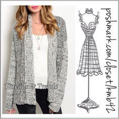 Loose Knit Open Cardigan M, L Lovely loose knit, cozy black & Ivory cardi sweater with a hint of silver shimmer throughout. Great staple colors to match all looks. Good for the office as well. Made of acrylic size S/M, L/XL wrap coat Threads & Trends Sweaters Cardigans