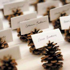 New wedding winter pine cones place cards 20 Ideas Christmas Wedding, Fall Wedding, Christmas Time, Rustic Wedding, Christmas Crafts, Christmas Decorations, Xmas, Trendy Wedding, Simple Elegant Wedding