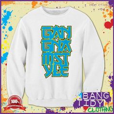 PSY Gangnam Style korean Style Big Blue Text Fun Mens Sweatshirt  Our Price: £19.97