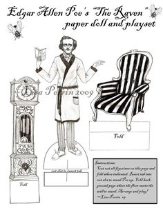 The Raven Paper doll play set