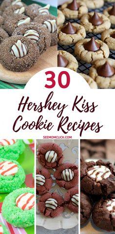 Peppermint Kisses Cookies Recipe, Cherry Kiss Cookies Recipe, Hershey Kiss Cookie Recipe, Chocolate Kiss Cookies, Hershey Recipes, Peanut Butter Blossom Cookies, Thumbprint Cookies Recipe, Fudge Cookies, Ginger Bread Cookies Recipe