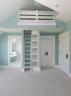 Sky blue girls& bedroom boasts sky blue painted walls and white bi-fold clos. , Sky blue girls& bedroom boasts sky blue painted walls and white bi-fold closet doors contrasted with oil rubbed bronze knob plates and a glass door knobs. Bedroom Door Decorations, Blue Bedroom Decor, Room Ideas Bedroom, Bedroom Wall, Girls Bedroom Blue, Blue Girls Rooms, Loft Playroom, Blue Painted Walls, Bedroom Closet Doors