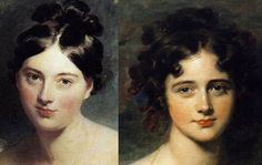Close-up look at the faces painted by renowned Regency artist, Sir Thomas Lawrence (1769-1830): (left) Margaret, Countess of Blessington (painted 1822) and (right) Rosamond Hester Elizabeth Croker (painted 1827)