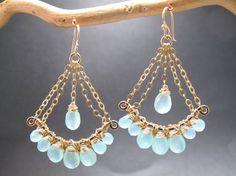Pensientes Mar azul Calcedonia lámpara piedras preciosas por CalicoJunoJewelry