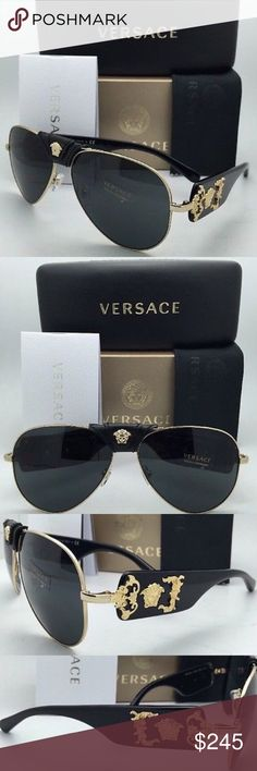 NWT AUTHENTIC Versace Sunglasses VE 2150-Q 100% AUTHENTIC / Genuine & Brand NEW Versace Medusa Sun Glasses Shades Sunnies   Shape: Oval Aviator Gender: Woman, Women's Unisex  Color: Black / Gold Eye/Bridge/Temple: 62/14/140 Frame Material: Metal Non Polarized  With the elegant and trendy designs, wearing Versace Sunglasses shoes luxury, glamour, and elegance. Very good quality built Sunglasses.  Comes with all Retail Original Packaging including Versace Case, Lens Cloth, Papers, & Dust Bag…
