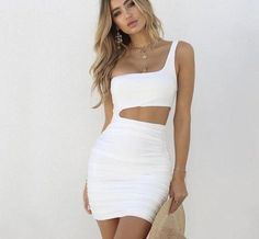 Sibybo One Shoulder Hollow Out Summer Dresses Casual Strapless Backless Sleeveless Mini Bodycon Dress Sheath Sexy Women Dress Casual Summer Dresses, Sexy Dresses, Short Dresses, Fashion Dresses, Backless Dresses, Women's Fashion, Dress Casual, Fashion Outlet, White Fashion