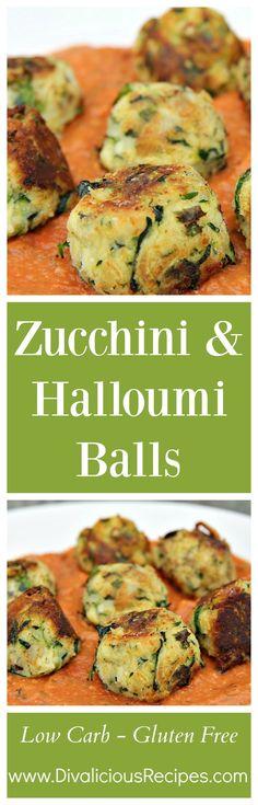 Zucchini Halloumi Balls A low carb and gluten free supper dish. Recipe - http://divaliciousrecipes.com/2016/07/14/zucchini-halloumi-balls/