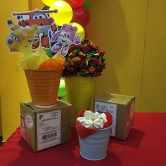Super Wings birthday centerpieces