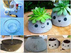 Concrete Pots Ideas DIY Planters Designs Video Instructions - New Ideas Cement Art, Concrete Pots, Concrete Crafts, Concrete Projects, Concrete Planters, Diy Planters, Succulent Planters, Succulents Garden, Backyard Garden Landscape