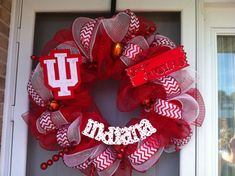 Indiana University Deco Mesh Wreath  Crimson and by QueenWreaths, $100.00