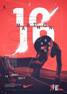 Lovely Inventive Marathon Of Concepts, Design Posters Legendary Marathon Poster Design Conce. Layout Design, Graphisches Design, Cover Design, Logo Design, Design Ideas, Nike Design, Retro Design, Nike Poster, Dm Poster