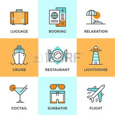 38864147-line-icons-set-with-flat-design-elements-of-air-flight-travel-resort-vacation-cruise-ship-luxury-rel.jpg (350×350)