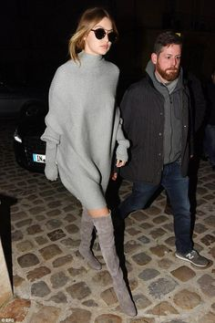 Gigi Hadid wearing Stuart Weitzman Highland Boots in Topo Suede and Illesteva Milan IV Sunglasses
