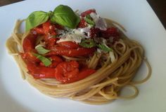 Angel Hair Pasta with Roasted Red Peppers & Garlic, Balsamic Vinegar, Fresh Basil & Parm - the fit cook