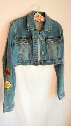 DENIM JACKET CROPPED Embroidered Studs Country by MissPoppysFancy