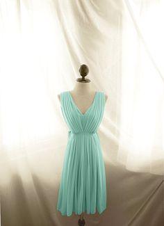 Breakfast at Tiffany's Marie Antoinette Jane Austen Blue Seafoam Green Mint Pleated Romantic Great Gatsby 1920 Minty Mori Girl Chiffon Dress