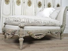 Antique French Rose Swag Chaise Lounge 1800s from Full Bloom Cottage