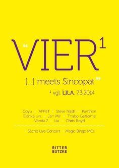 Vier meets Sincopat | Ritter Butzke | Berlin | https://beatguide.me/berlin/event/ritter-butzke-vier-meets-sincopat-20140307
