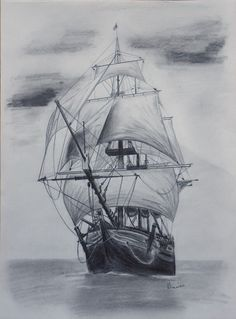Old tall ship, sail ship sketch. Original art, graphite pencil drawing by Elena Whitman.