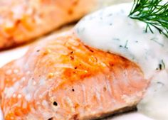 Poached Salmon with Greek Yogurt Tzatziki - The delicious combination of poached salmon with thick and creamy Greek #yogurt will give your heart something to smile about! #hearthealthy