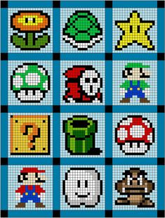 Super Mario quilt or cross stitch patterns! Hama Beads Design, Hama Beads Patterns, Beading Patterns, Knitting Patterns, Knitting Charts, Crochet Patterns, Cross Stitching, Cross Stitch Embroidery, Cross Stitch Patterns