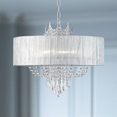 A study in elegance, this shaded, draped crystal six-light chandelier features a regal crown-like design in silver. wide x high x canopy is 4 wide. Includes 6 feet of chain, 10 feet of wire. Style # at Lamps Plus. Chandelier Lighting Fixtures, Crystal Pendant Lighting, Chandelier Bedroom, Bronze Chandelier, Pendant Chandelier, Light Fixtures, Modern Crystal Chandeliers, Elegant Chandeliers, Bedroom Lighting