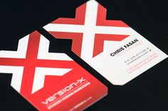 The subtleties of these business cards help them stand out in a crowd and make a strong first impression: they are slightly larger than standard business cards, and the X is die-cut and lightly embossed. These are details that—when well executed, as they are here—recipients tend to appreciate, even if they don't realize why they think this card is better than other cards.
