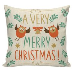 Christmas Pillow Cushion Cottage Style Owls by ElliottHeathDesigns
