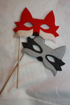 Fox masks on sticks for fun photo props