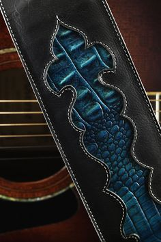 Black guitar strap leather guitar strap by EthosCustomBrands, $173.00
