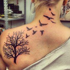 tree bird sketch tattoo - Google Search