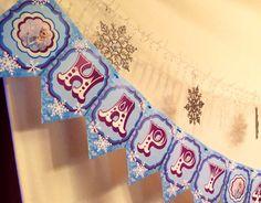 Fozen Happy Birthday Banner Customizable printable DIY 300 DPI JPG Frozen Movie Elsa Anna Olof Winter wonderland snowflakes Blue Pink Purple