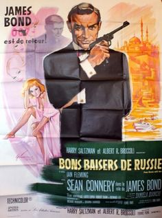 James Bond From Russia with Love, 1963 - original vintage cinema poster by Boris Grinsson for the 007 James Bond movie starring Sean Connery as James Bond, Robert Shaw, Daniela Bianchi and Lotte Lenya as Rosa Klebb, listed on AntikBar.co.uk Cinema Posters, Film Posters, Love Posters, Vintage Posters, Sean Connery James Bond, Robert Shaw, Art Through The Ages, James Bond Movies, Vintage Movies