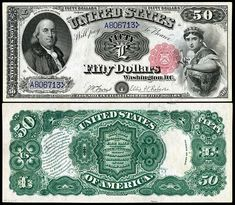 US 50 Dollar Note 1874 Serial# Signatures: Allison / Spinner Liberty dressed as Columbia Portrait: Benjamin Franklin Money Notes, Valuable Coins, Coins Worth Money, Coin Worth, Coin Values, Old Coins, Stamp Collecting, Vintage World Maps, Benjamin Franklin