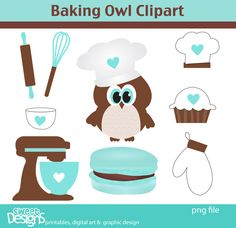 Baking Owl Cliparts personal and commercial use