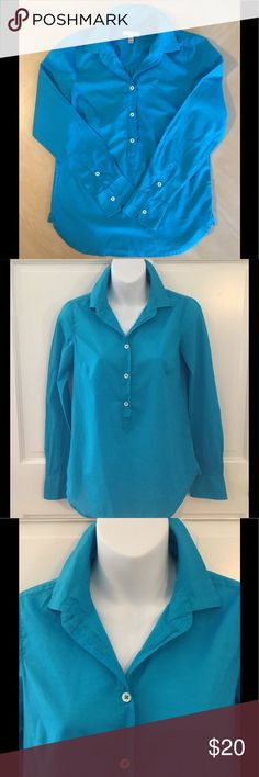 J. CREW Popover Long Sleeve Top J. Crew 100% Cotton Top. Beautiful Teal Blue. Extra soft and lightweight. Gently used - in very good condition. J. Crew Tops Blouses