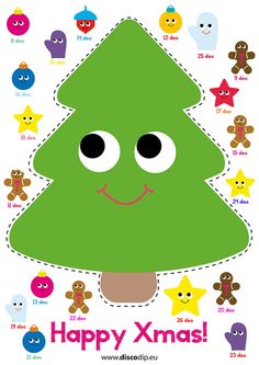 Xmas Advent Calendar by www.discodip.eu Download, make a print, and cut and paste one item a day! Have fun a happy Xmas!!